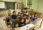 Elementary students in poor rural school near Sa Pa in hill tribe area of northern Vietnam