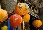 Decorative lanterns on shop entrance in Old Town of Hoi An