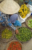 Riverside produce market in Old Town of Hoi An
