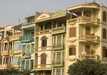 Typical Hanoi buildings of multi-stories on narrow lots