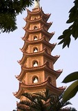 Hanoi's Tran Quoc Buddhist Pagoda on island in West Lake