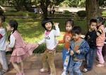 Kindergartners on outing at Van Mieu Temple of Literature in Hanoi