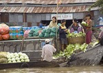Phung Hiep floating market in Mekong River Delta near Can Tho