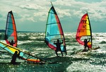 Lake Michigan windsurfers at South Haven