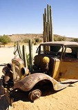 Rusty relic with cactus in Namib desert in southern Namibia