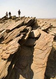 The Badlands, a metamorphic mica schist formation of bedrock outcropping in Namib desert near Swakopmund, Namibia