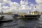 Willemstad Punda waterfront floating pontoon footbridge for pedestrians crossing Sint Ana Baai entrance