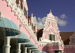Oranjestad, Aruba, pastel Dutch architectural detail on Royal Plaza facade