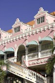 Oranjestad, Aruba, pastel Dutch architectural detail and staircase on Royal Plaza facade