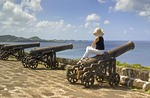 Cannons on ramparts of Fort George overlooking Caribbean at Saint George's, Grenada