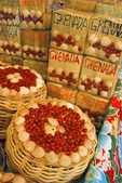 Souvenir boxes of spices decorated with sea shells in the Saint George's market