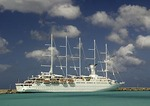 Windstar Cruise Line's high-tech luxury sailing ship the Wind Surf in port in Barbados