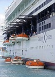 Life boat drill on the Celebrity Galaxy in port in Caribbean