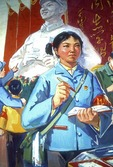 1976 Shenyang Middle School student painting of Red Guard in campaign to Learn from Comrade Lei Feng during Great Proletarian Cultural Revolution