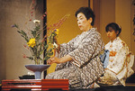 Traditional Japanese flower arranging in Nageire style at Gion Corner in Kyoto