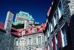 Chateau Frontenac Hotel above Old Quebec City Musee de l'habitation in lower town