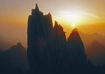 Sunset at Huangshan (Yellow Mountain) pines and peaks near West Sea (Xihai)