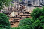 Maiji Shan Buddhist Caves contains 7800 statues from 16 dynasties, near Tianshui, Gansu province