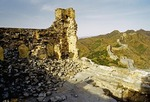 Ruins of a barracks on the Great Wall at Jinshanling in Hebei province