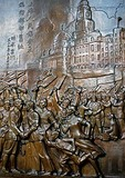 Bas-relief depicting the 1949 Liberation of Shanghai by the Communists on the Municipal Government House Building on the Bund