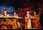 Zither and ruan instruments being played in Tang Dynasty performance in Xi'an.