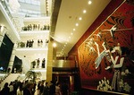 Shanghai Grand Theater Lobby with mural celebrating China's minority nationalities