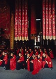 Young monks before a ceremony at Shanghai's Jade Buddha Temple
