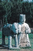 Stone statue at Tomb of Ming Dynasty Jin Jiang Prince buried in 1414 near Fubo Hill in Guilin