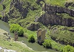 Remains of Silk Road bridge over Arpacay stream in gorge on Armenia border with Turkey at Ani, ruined capital of Armenian Kingdom