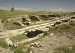 Remains of street of shops at Ani, ruined capital of Armenian Kingdom, on eastern Turkey border with Armenia