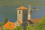 St. Nikola Church in village of Perast, with Island of St. George, in Bay of Kotor on Adriatic coast of Montenegro