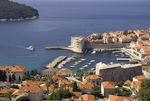 Dubrovnik Old Town harbor, historic walled city on Adriatic
