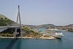 P&O Cruise Ship Aurora in Dubrovnik's Port of Gruz near Franjo Tudman Bridge