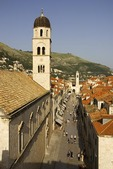 Placa-Stradun, main street of Dubrovnik Old Town, viewed from city wall with Church of St. Saviour at left