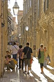 Dubrovnik Old Town, narrow cobblestone shopping street