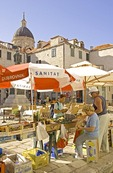 Dubrovnik Old Town morning fruit market in Gundulic's Square