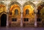 Dubrovnik Old Town Rector's Palace arches at night