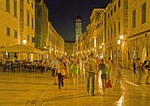 Dubrovnik Old Town Stradun main street at night