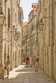 Dubrovnik Old Town narrow shopping street of Od Puca near Gundulic's Square