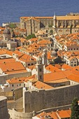 Dubrovnik Old Town church towers and orange tiled rooftops