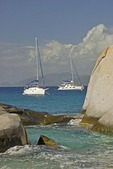 Sailboats offshore at The Baths on Virgin Gorda
