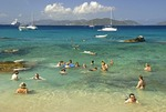 Snorkelers and swimmers at The Baths on Virgin Gorda