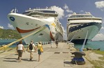 Cruise ship passengers returning to ship at Tortola