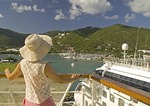 Island of Tortola's Rock Harbour viewed from cruise ship in port