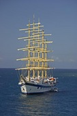 Star Clipper Cruises flagship the Royal Clipper at anchor in Caribbean at Dominica