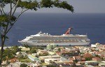 Carnival Destiny in port at Roseau