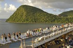 Caribbean island of Dominica from cruise ship Celebrity Galaxy in evening light