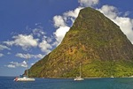 St Lucia's Petit Piton volcanic plug towering over Piton Bay on southwest cost of island
