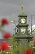 Basseterre's Berkeley Memorial clock tower on the Circus on Caribbean island of Saint Kitts