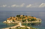 Sveti Stefan, exclusive island luxury resort hotel on Budva Riviera of Adriatic Sea